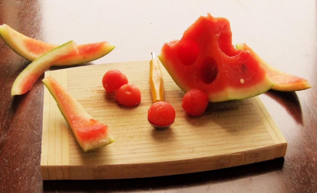 scooped watermelon
