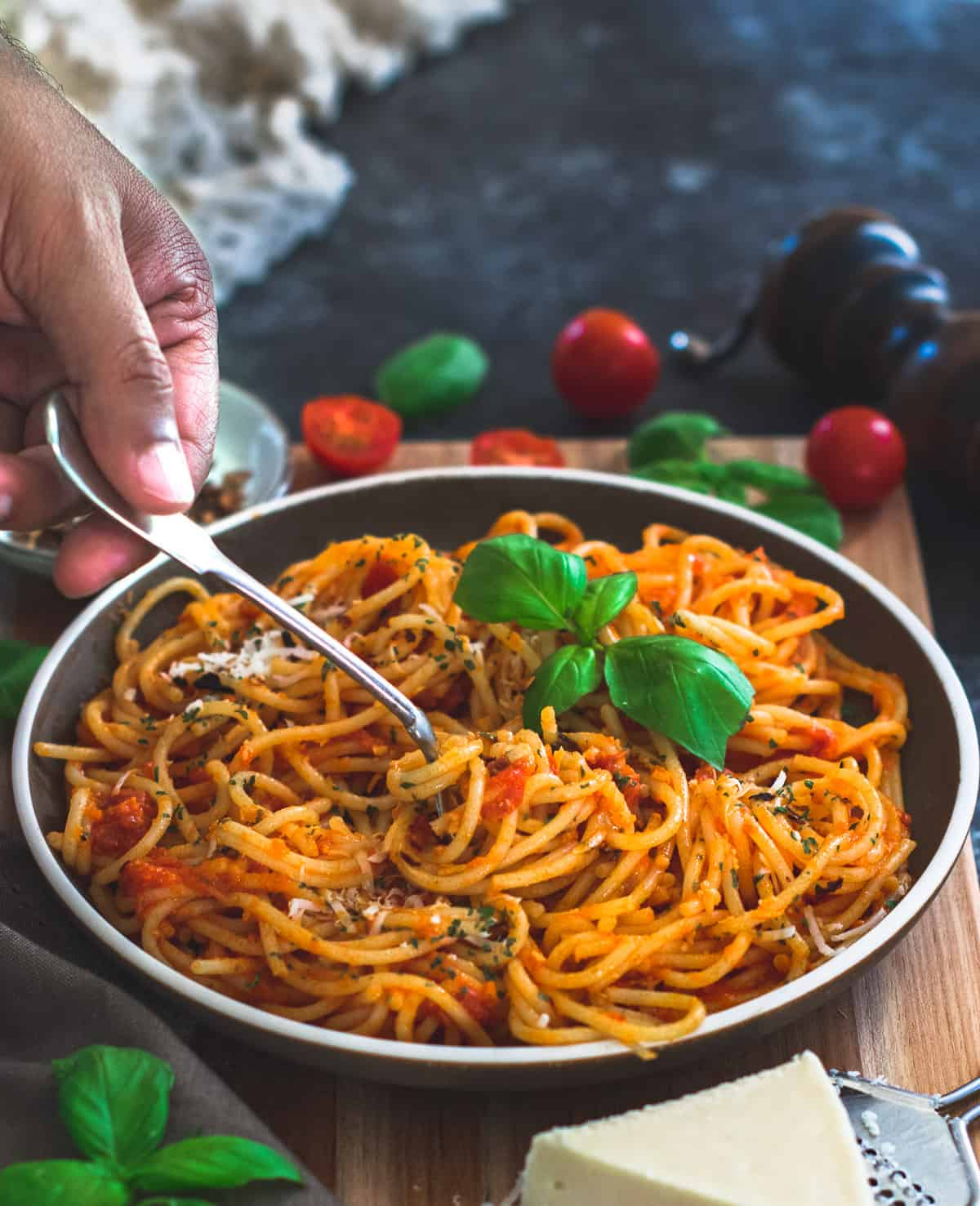 Pasta Arrabiata being served with a fork