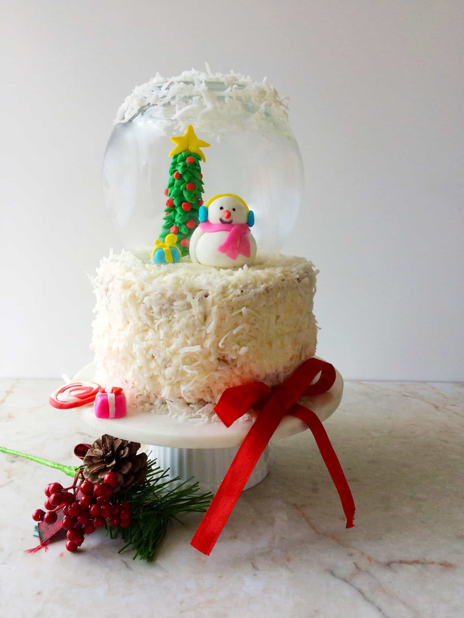 Eggless Red Velvet Cake Snow Globe Cake