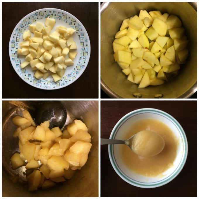 Steps in making of applesauce at home.