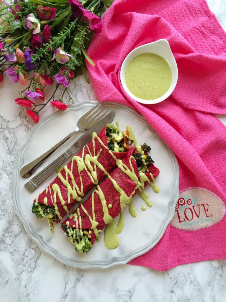 red velvet savory crepes florentine (eggless)