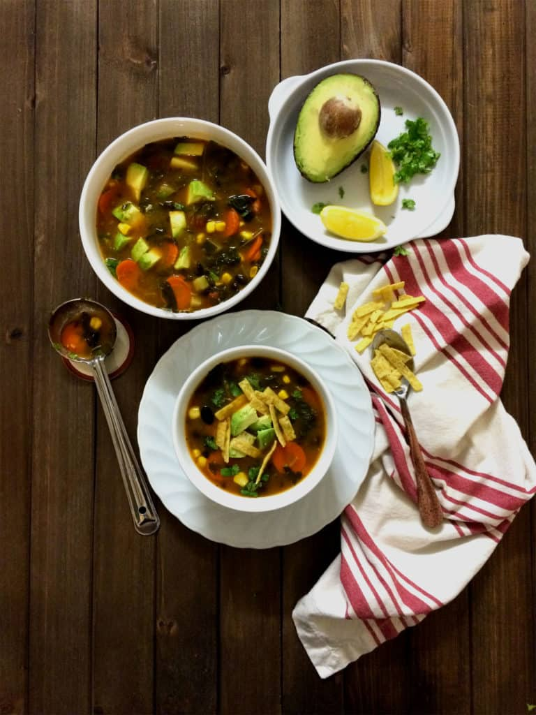 southwest chipotle soup with greens (vegan and gluten free)