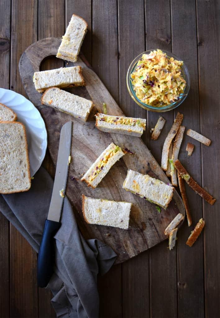 easy veg coleslaw sandwich bars