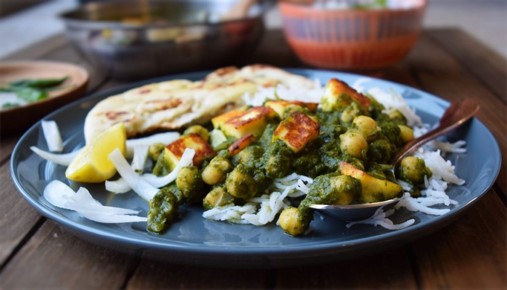 kale saag with chickpea & tofu vegan gluten free