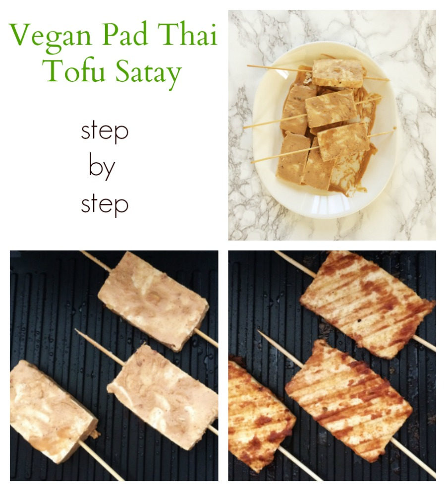 Vegan Pad thai style tofu satay skewers with peanut sauce
