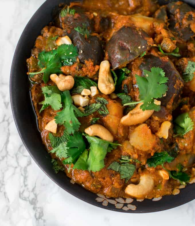 Instant Pot Aloo Baingan Masala Potato Eggplant Curry
