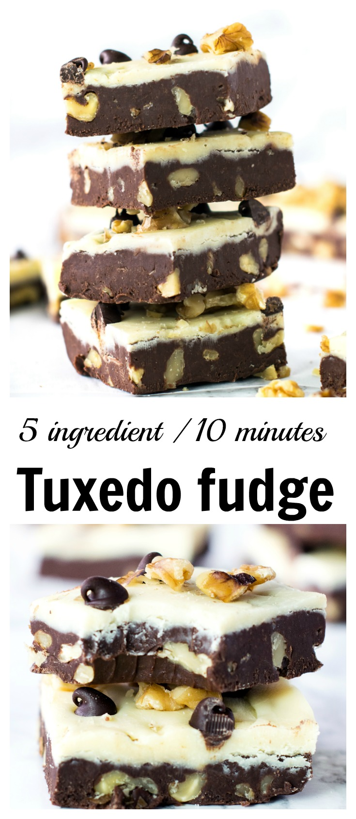 10 minute Double chocolate walnut fudge
