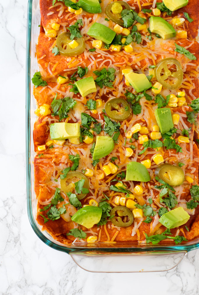 Easy Vegetarian Enchiladas with refried beans & vegetables
