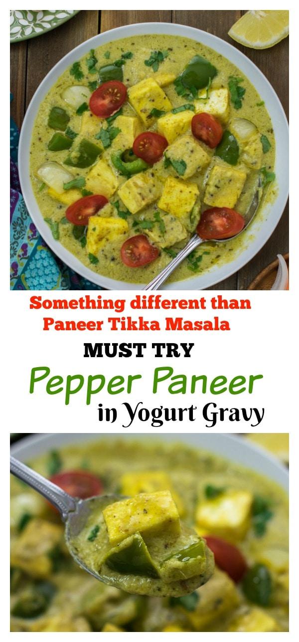Pepper paneer in yogurt gravy