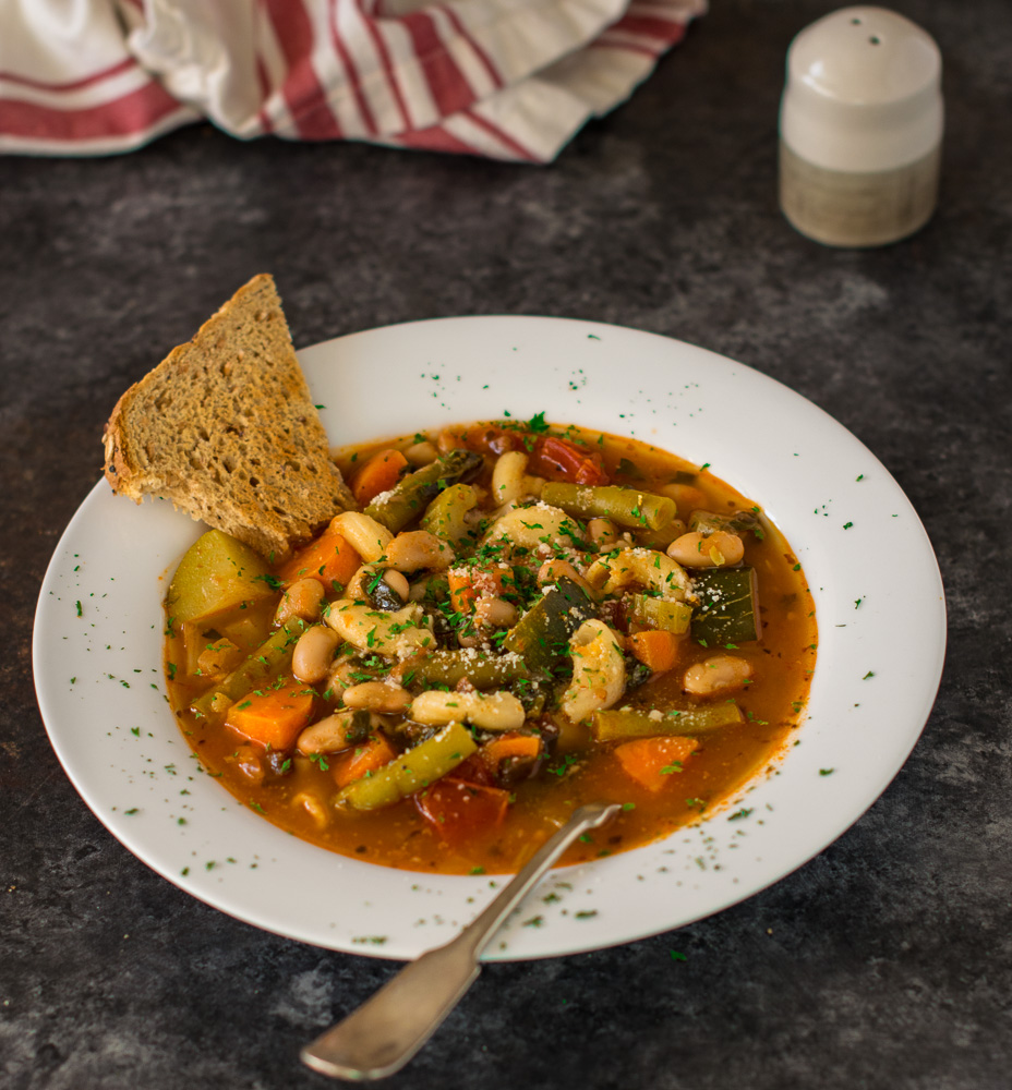 Soup with a side of bread.