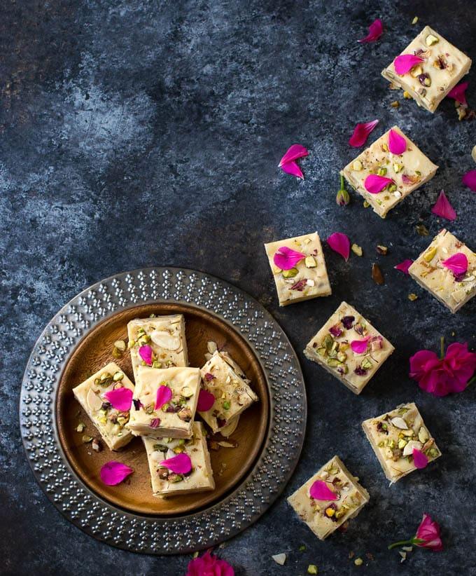 Indian bufi Condensed milk fudge ( easy 3 ingredient fudge recipe & variations)