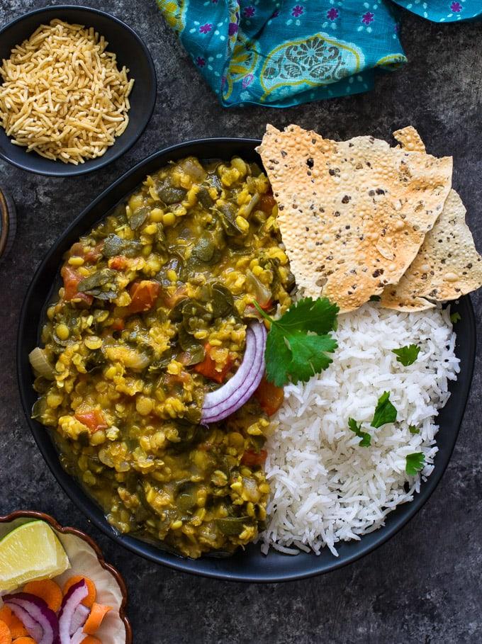 Moringa dal served with rice and salad