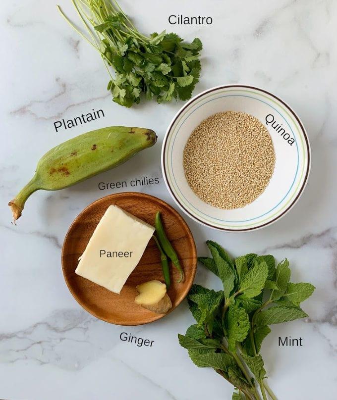 Ingredients for making Quinoa patties