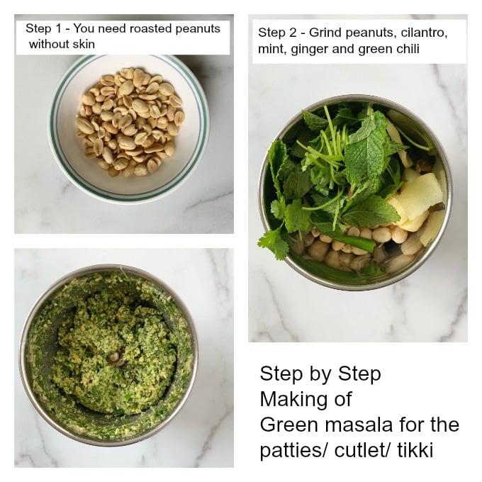Making green masala for the paneer quinoa patties