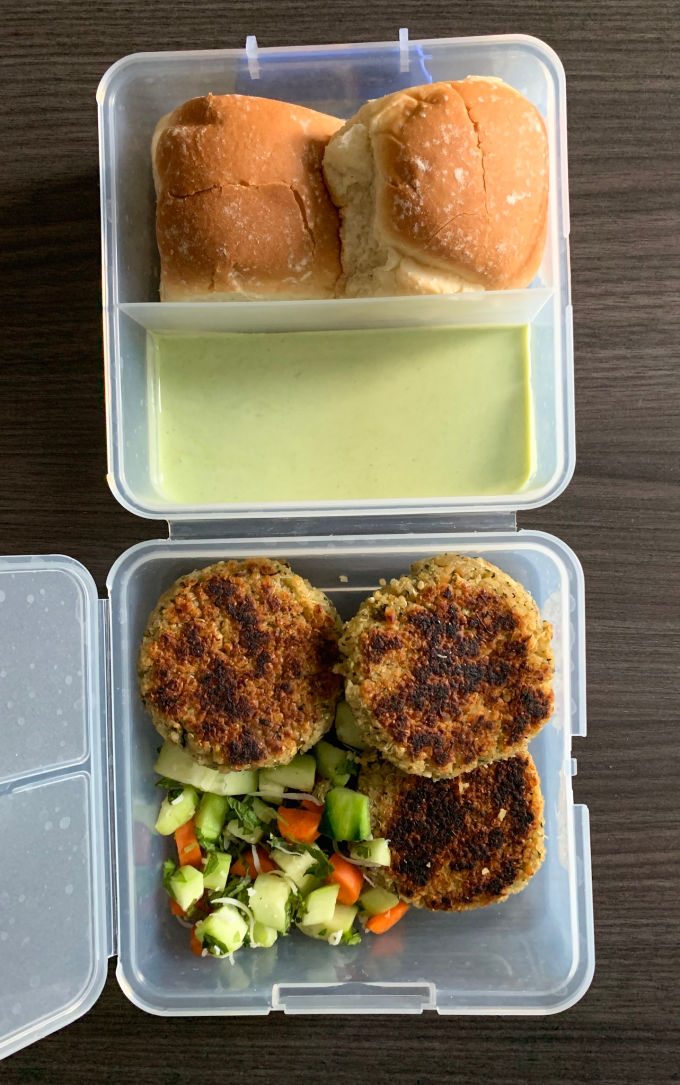 Packing QUinoa Paneer Kababs for lunch