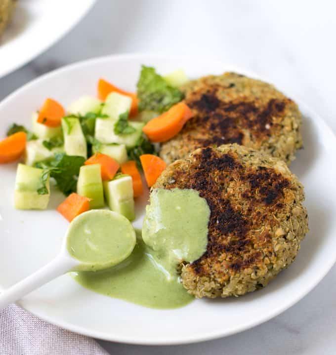 Quinoa paneer patties with salad & green chutney