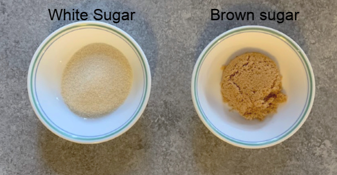 Two types of Sugar used to make pudding