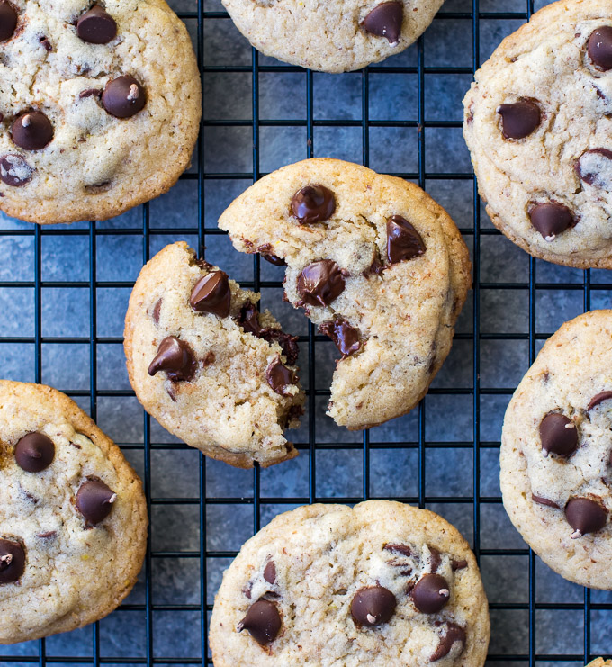 Eggless Chocolate Chip Cookies cooling on the rack
