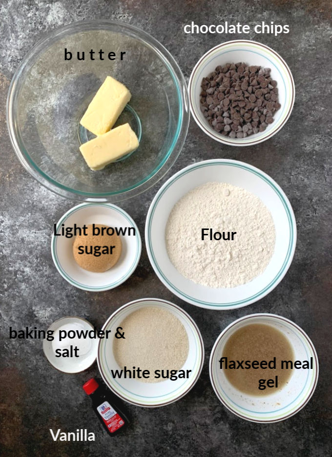 Ingredients to make eggless chocolate chip cookies
