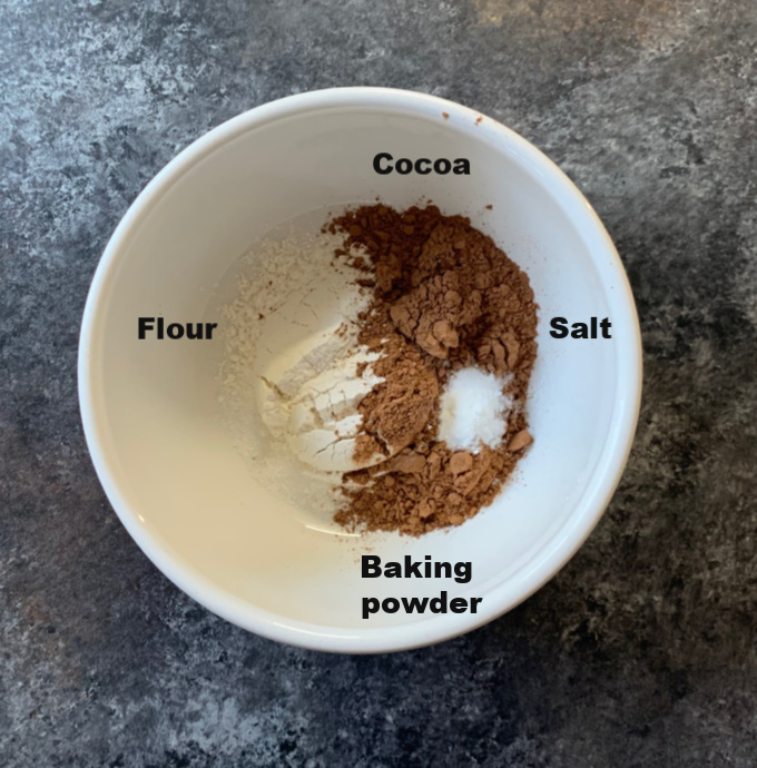 Dry Ingredients to make chocolate cake in a bowl