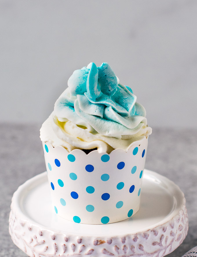 Ombre frosting on a chocolate cupcake