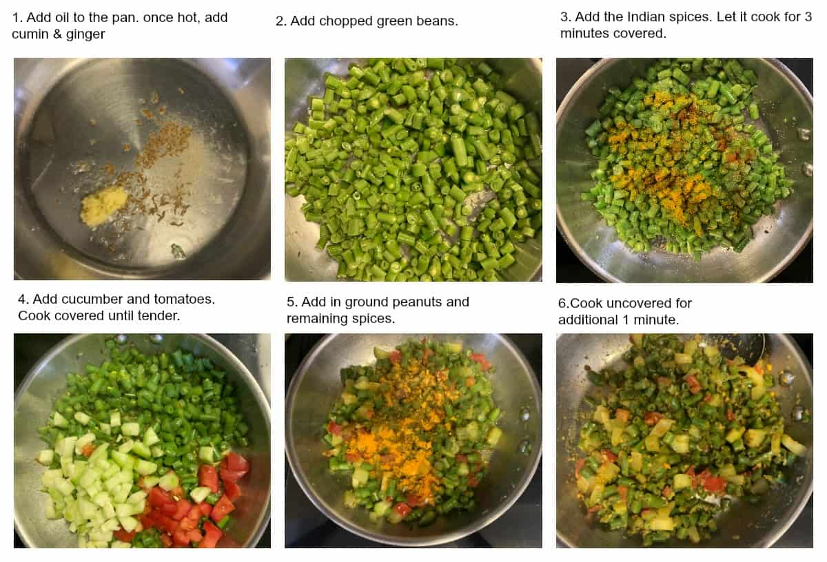 Steps in making green beans cucumber subzi in a pan.