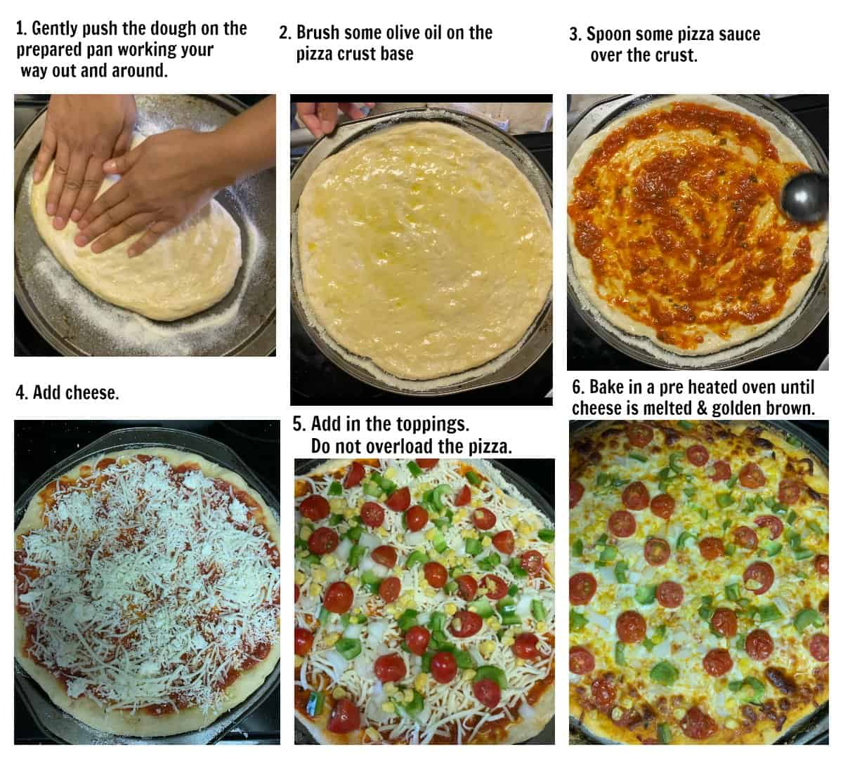 Instructions on making the pizza base on a pizza pan and baking it.
