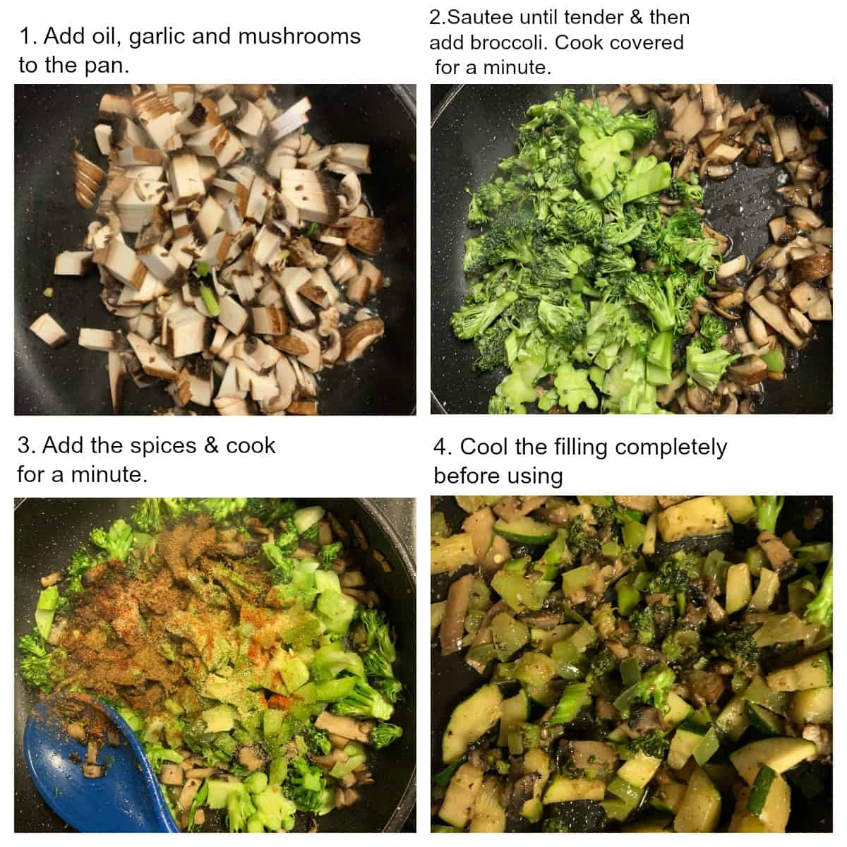 Cooking mushrooms, broccoli and zucchini in a pan