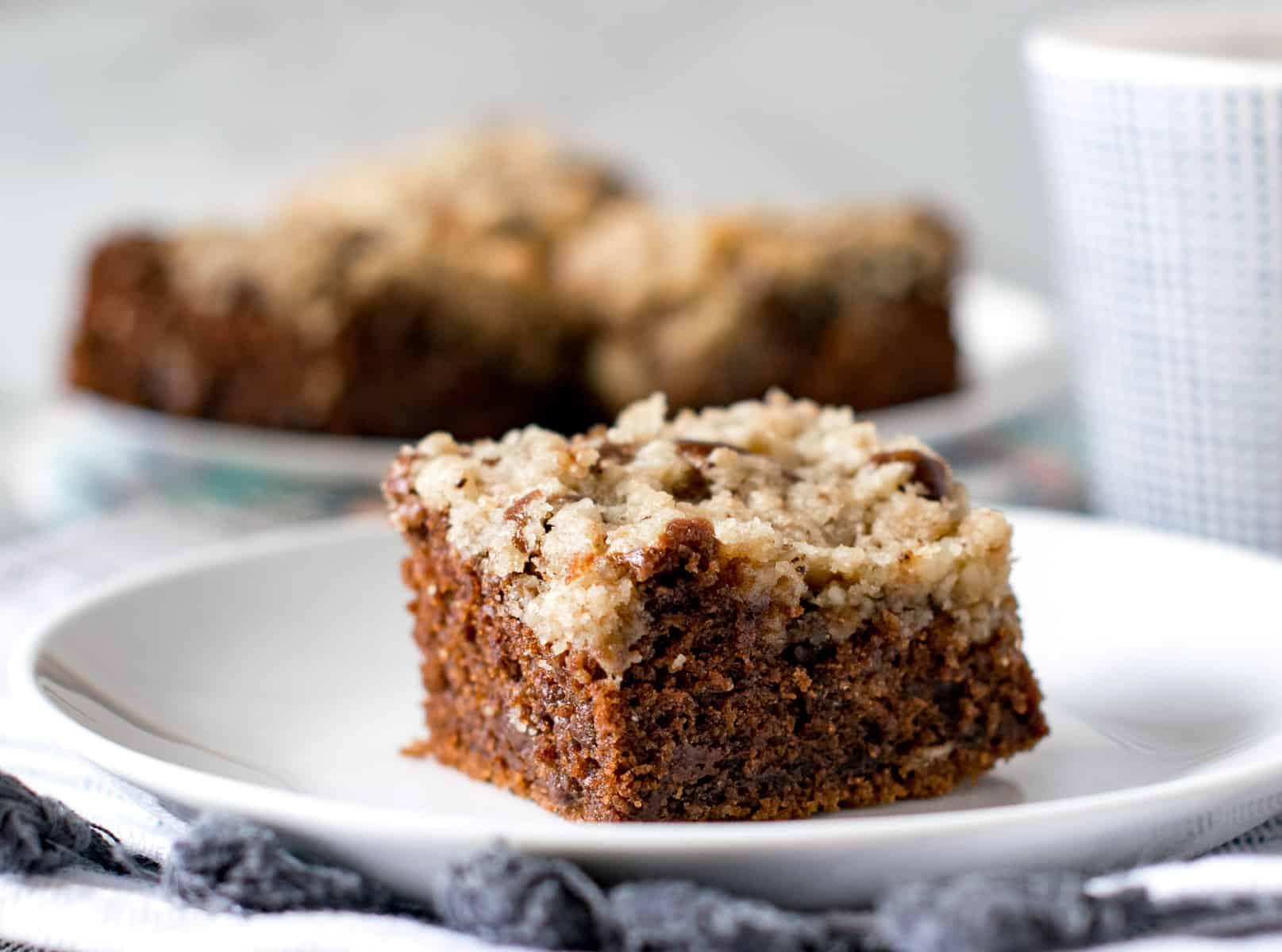 Eggless chocolate coffee crumb cake served with tea