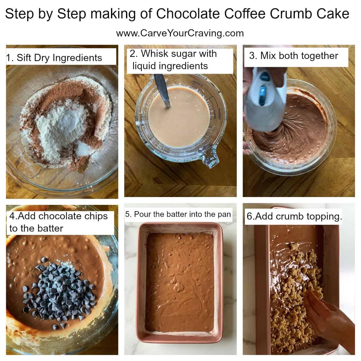 Step by step making of eggless coffee cake