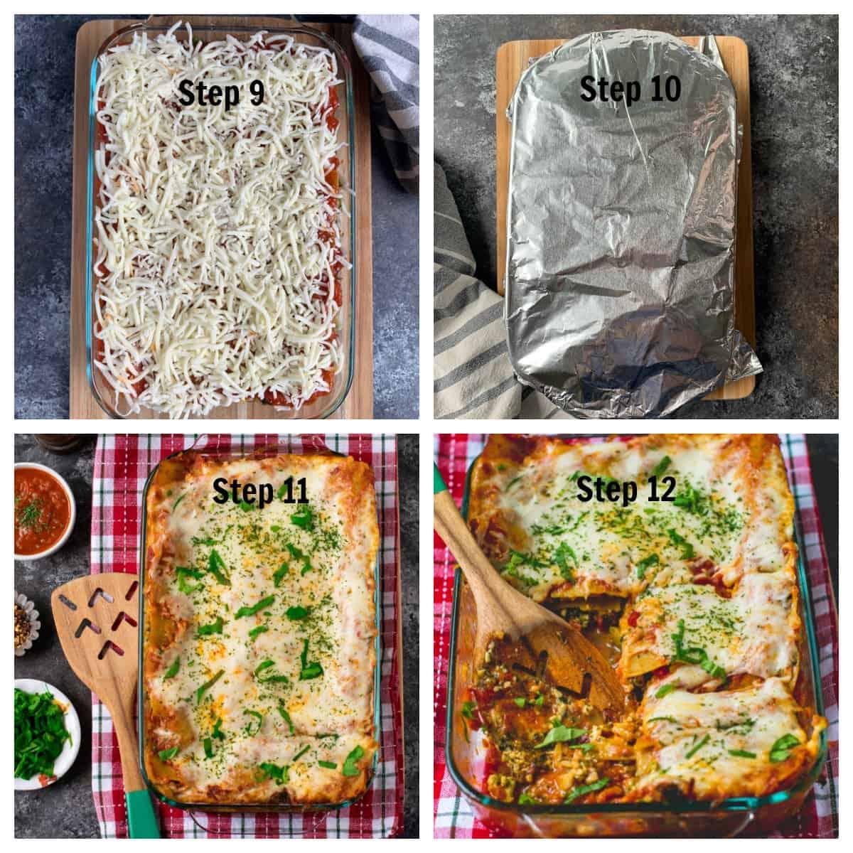 Steps in preparing and baking lasagna