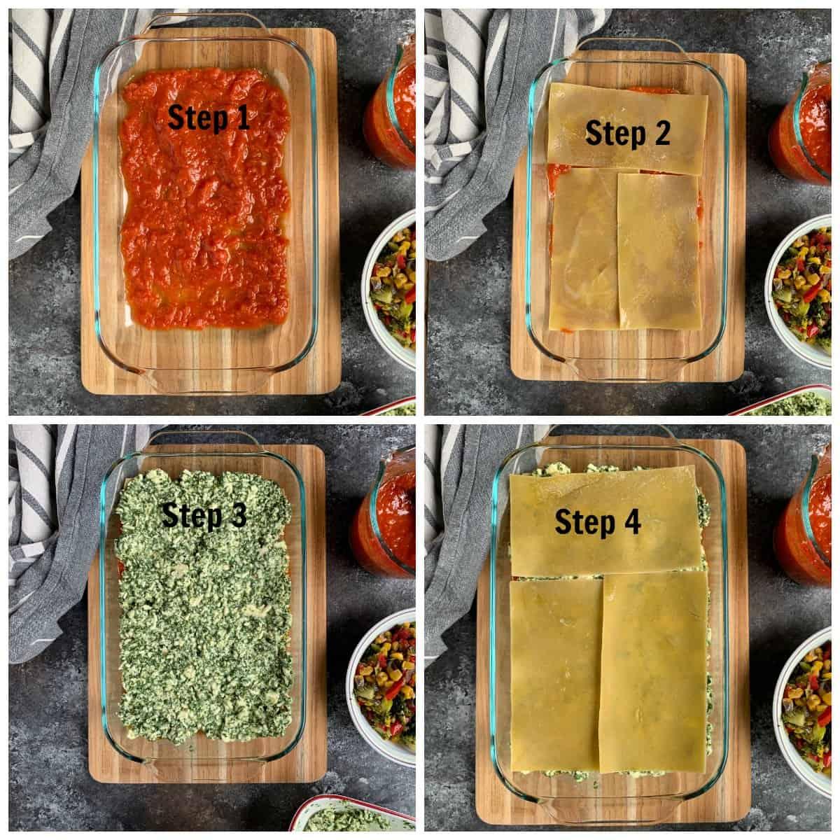 Steps in layering lasagna in a pan