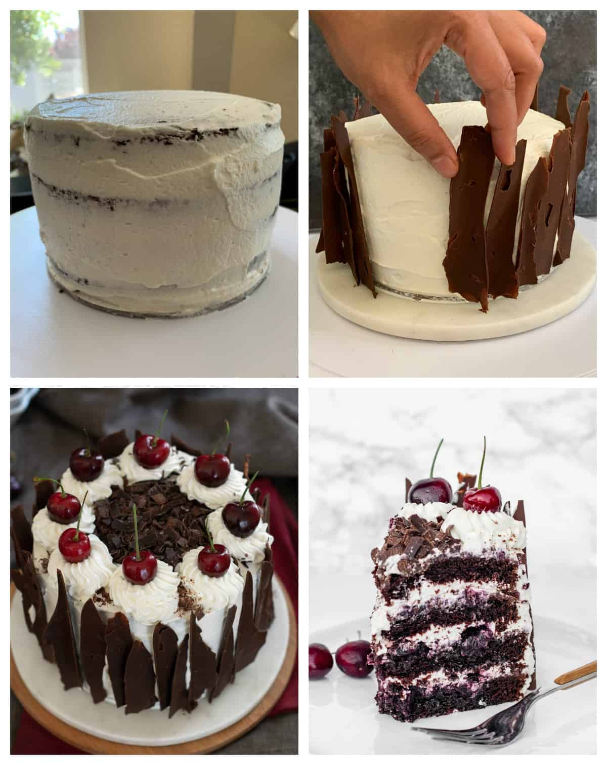 Putting decorations on the black forest cake