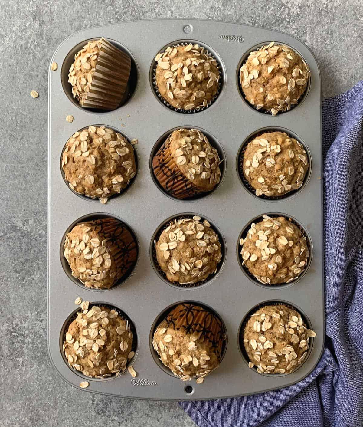 Vegan banana muffins baked in a cupcake pan