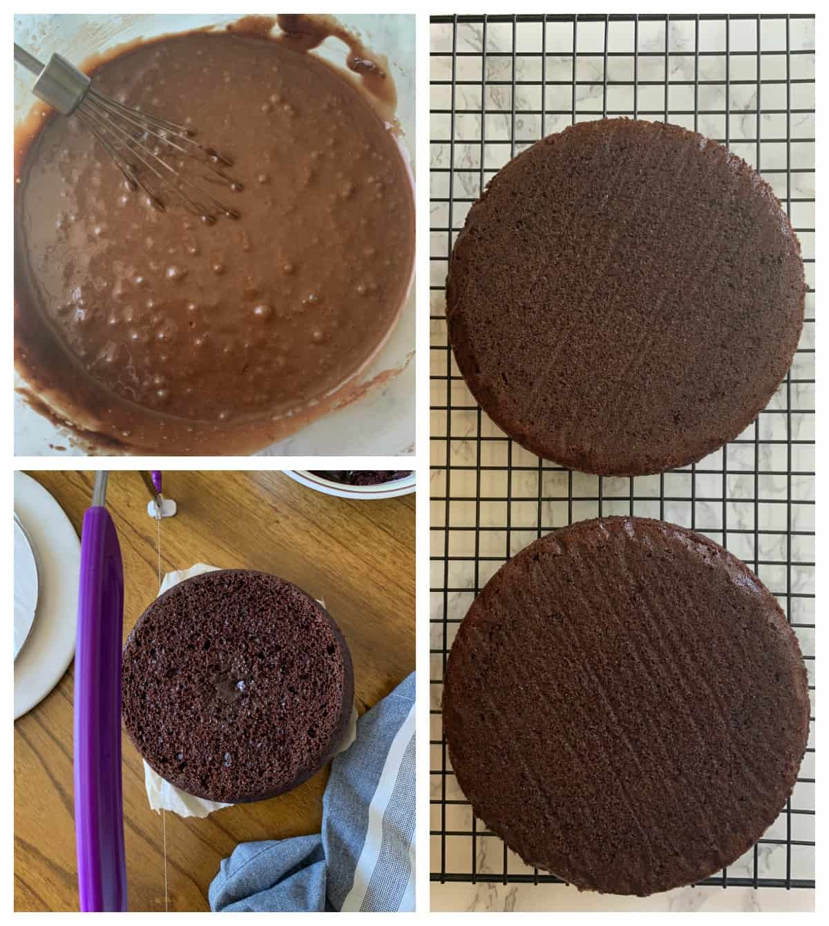 Steps in making the chocolate cake base