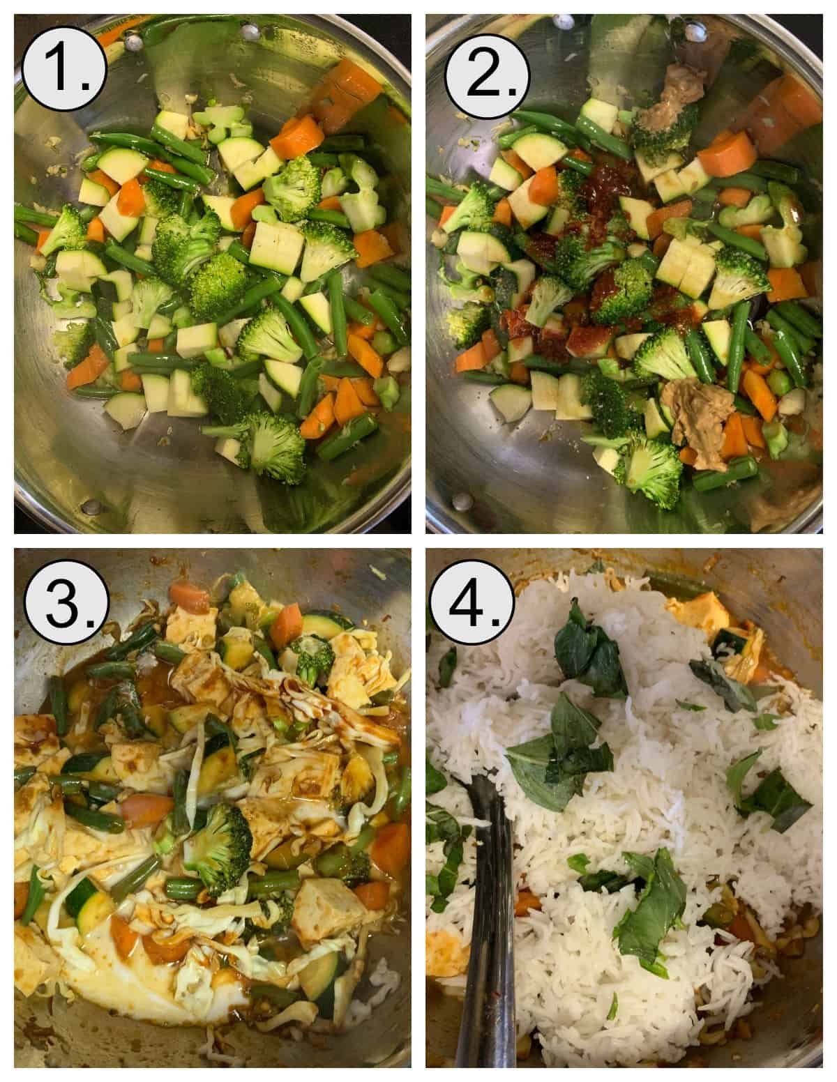 Step by step instructions to make red curry fried rice in a wok.