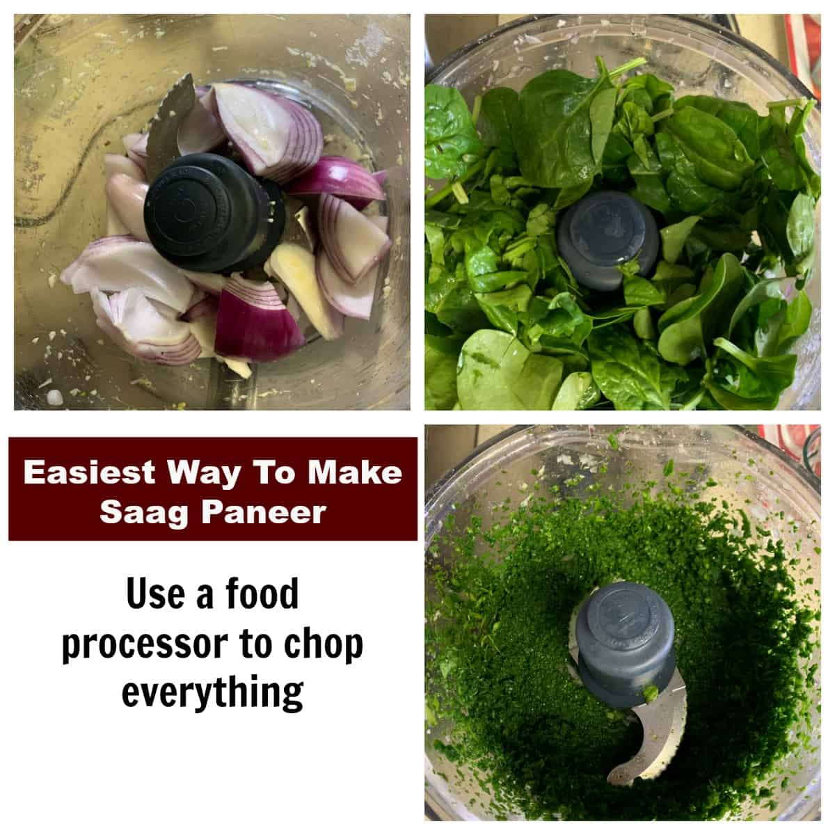 Steps to crush ingredients in a food processor to make saag