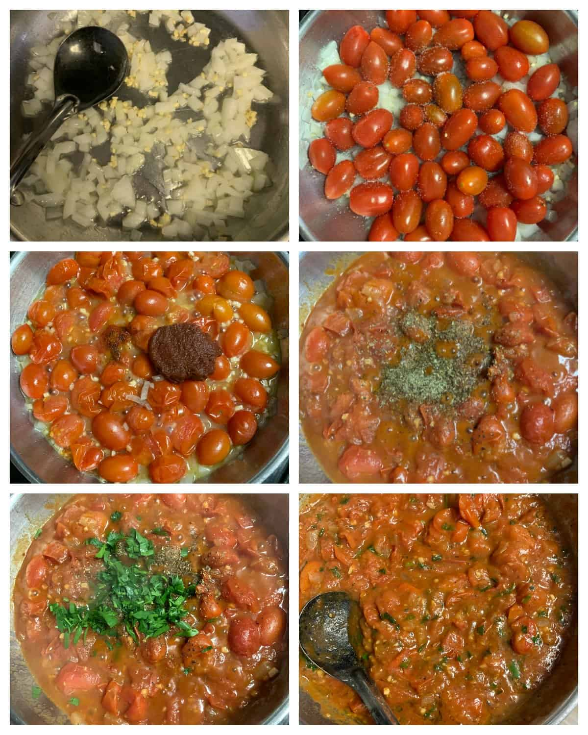 Step by step making of fresh tomato pasta sauce in a pan