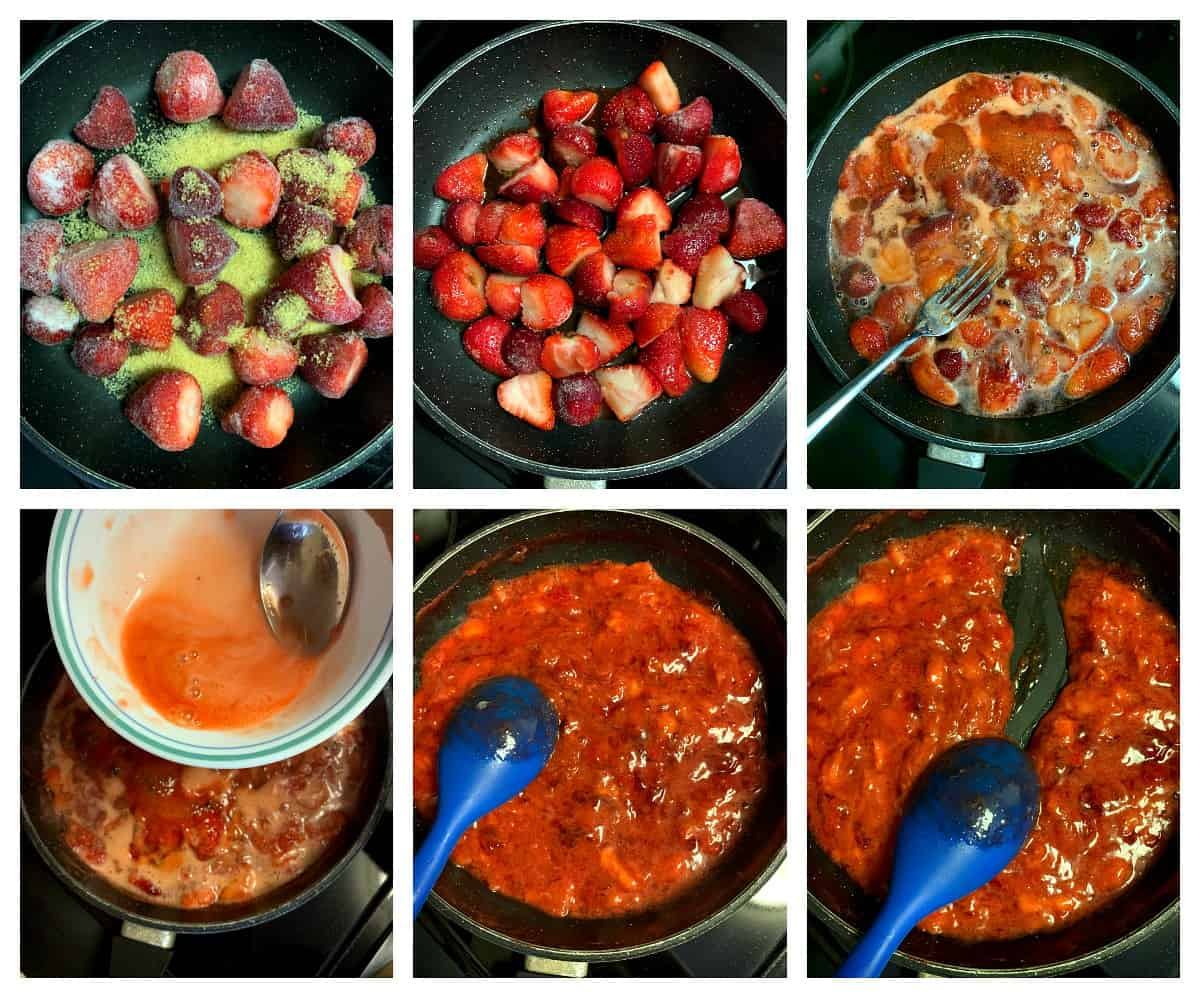 Cooking strawberries and sugar to make cake filling