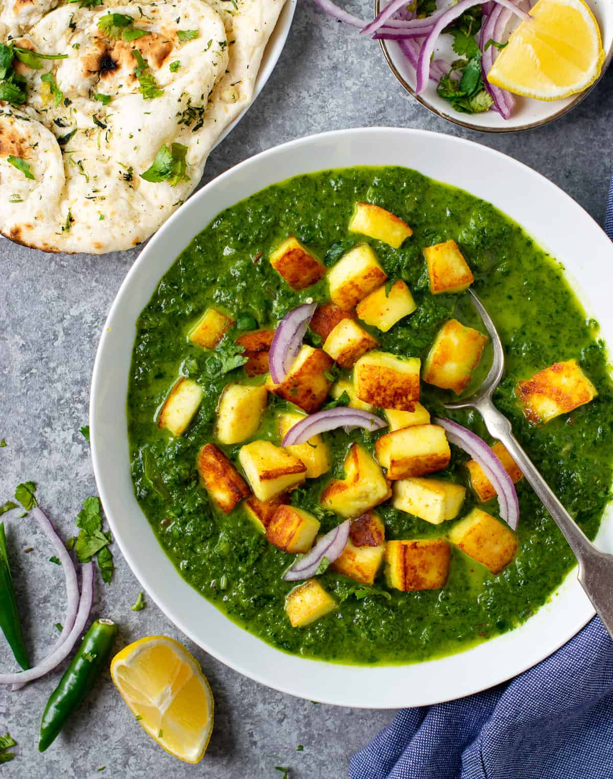 Authentic saag paneer served with naan and some onions on the side