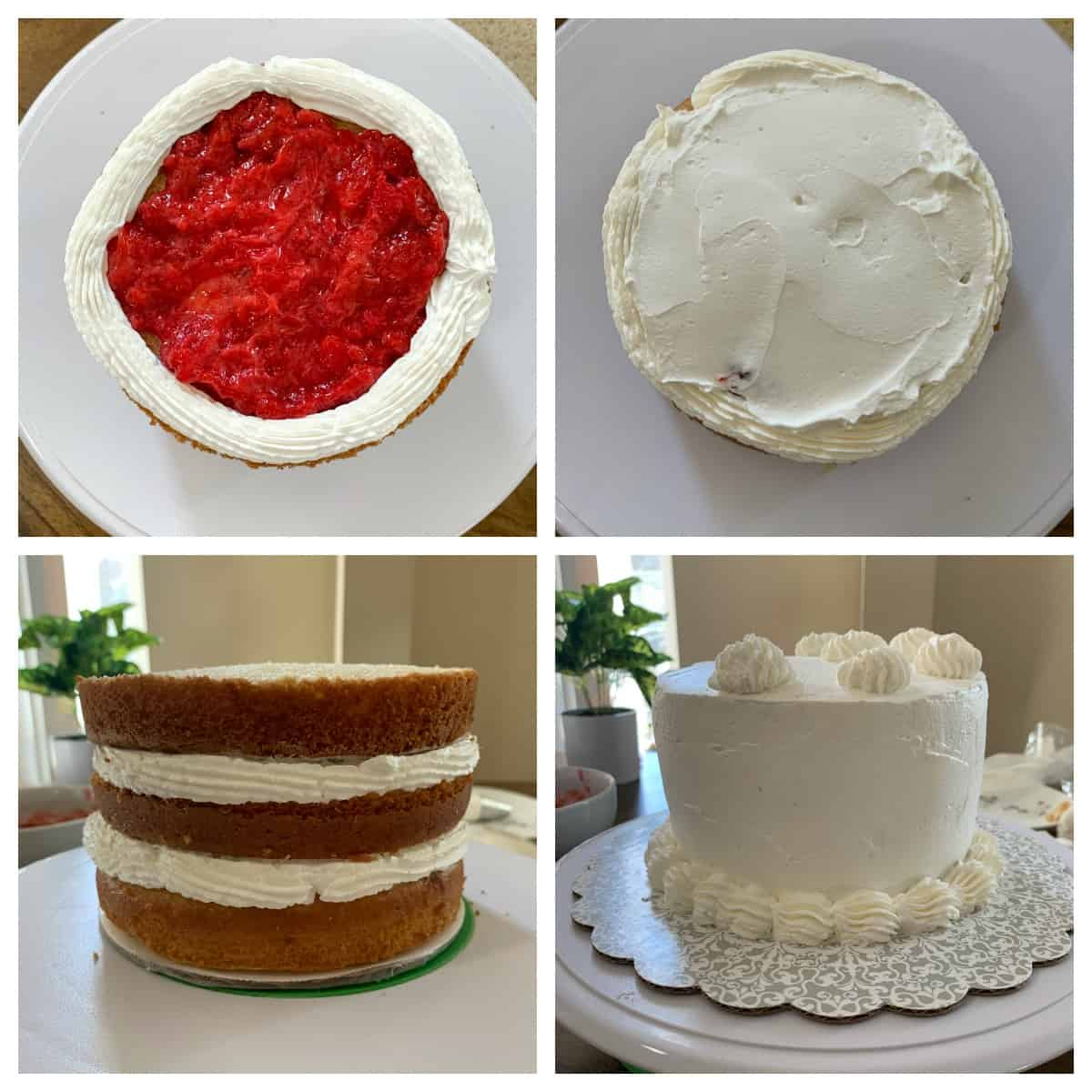 Step by step making of strawberries and cream cake