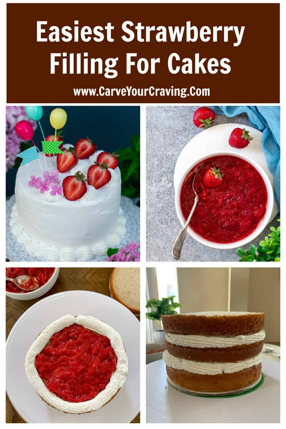 Strawberry filling scooped on a cake and layered with frosting