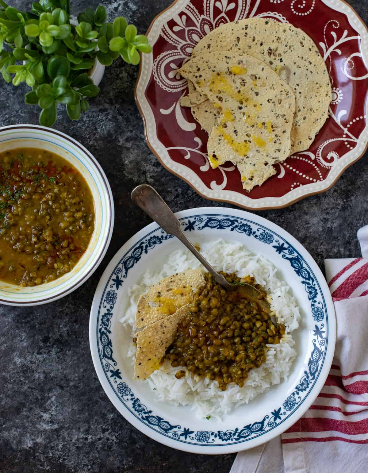 Moong bean subzi served with tadka on the top
