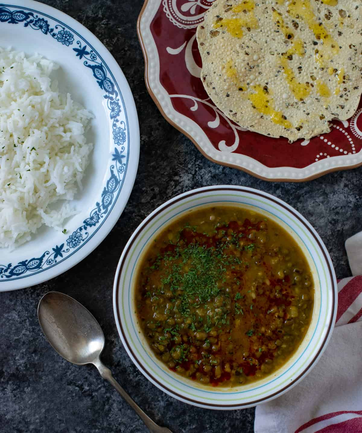 Indian Mung bean curry in a white bowl