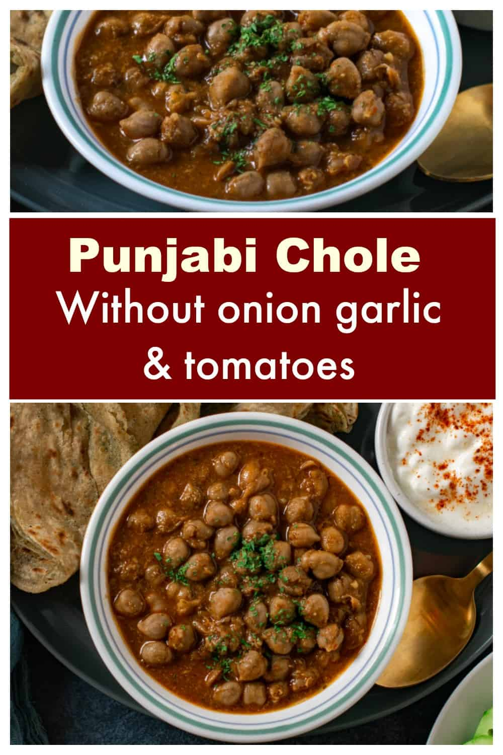 Punjabi chole without onion garlic and tomatoes on a plate