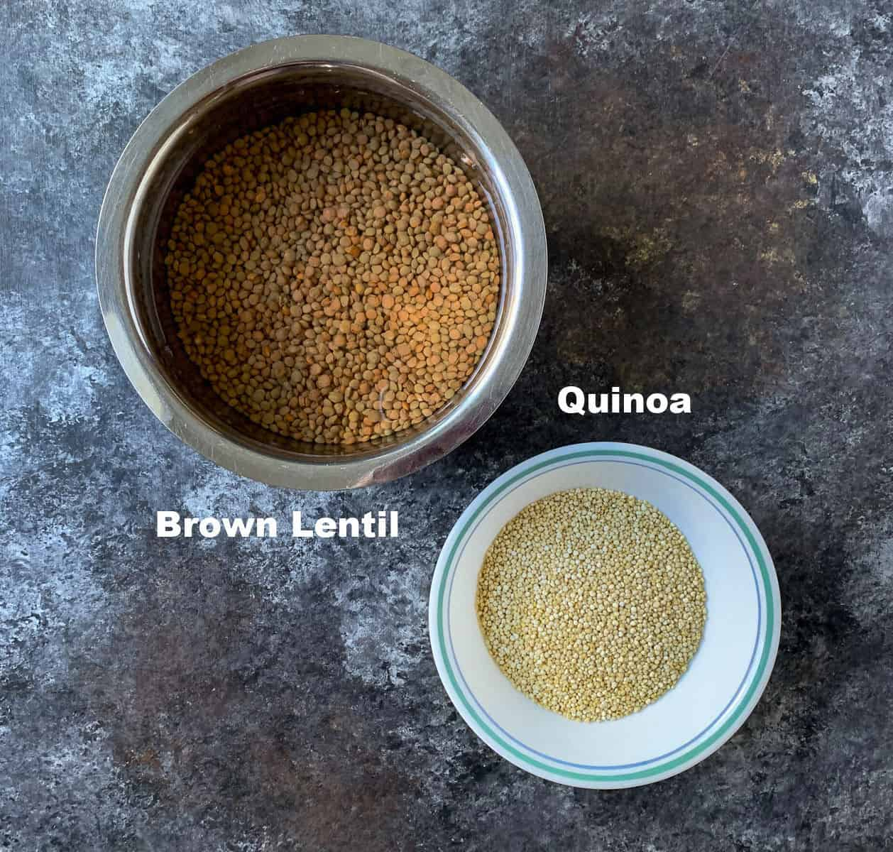 Brown Lentil and quinoa kept in bowls