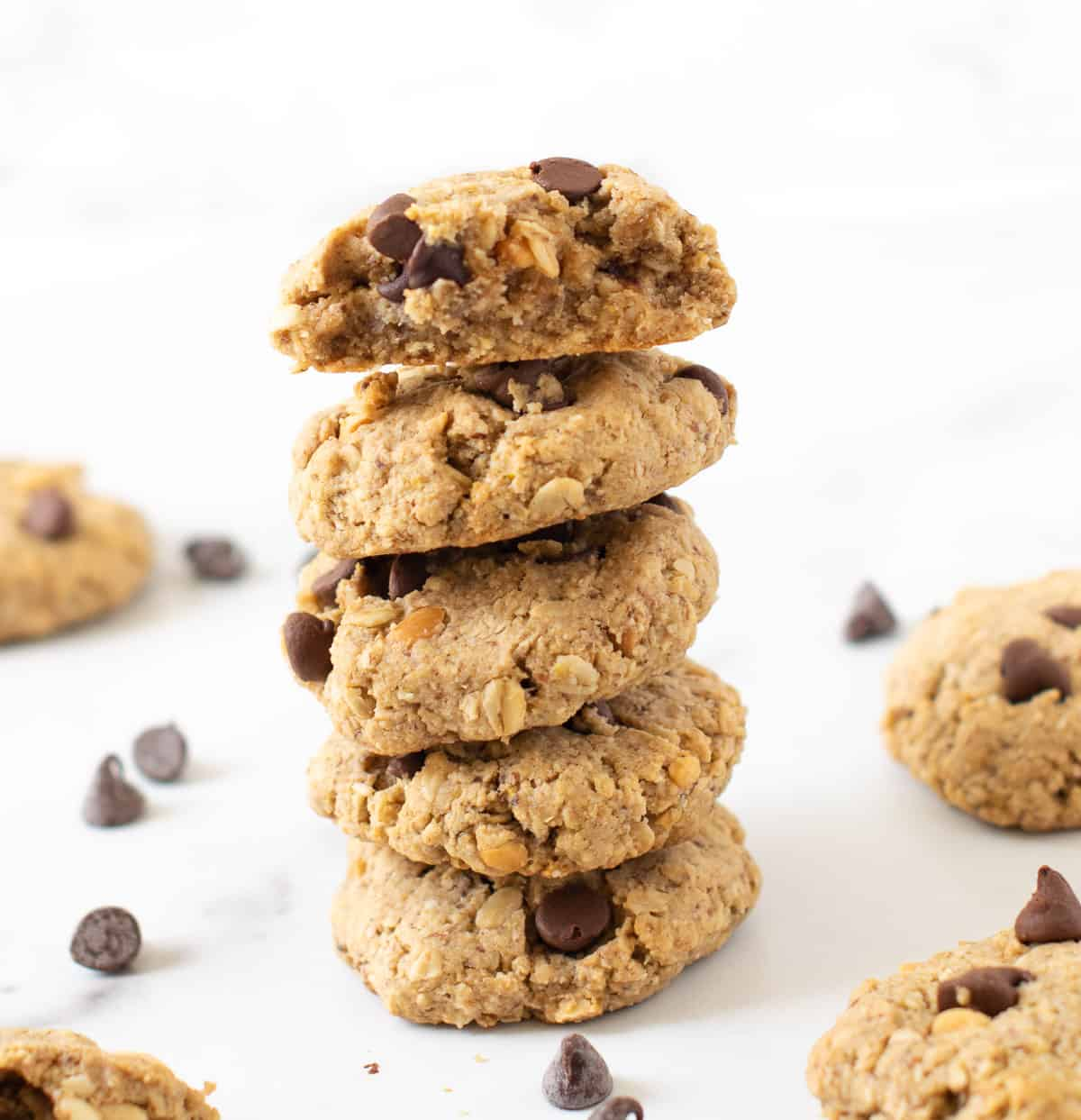 Peanut buttter oatmeal chocolate chip cookies stacked up