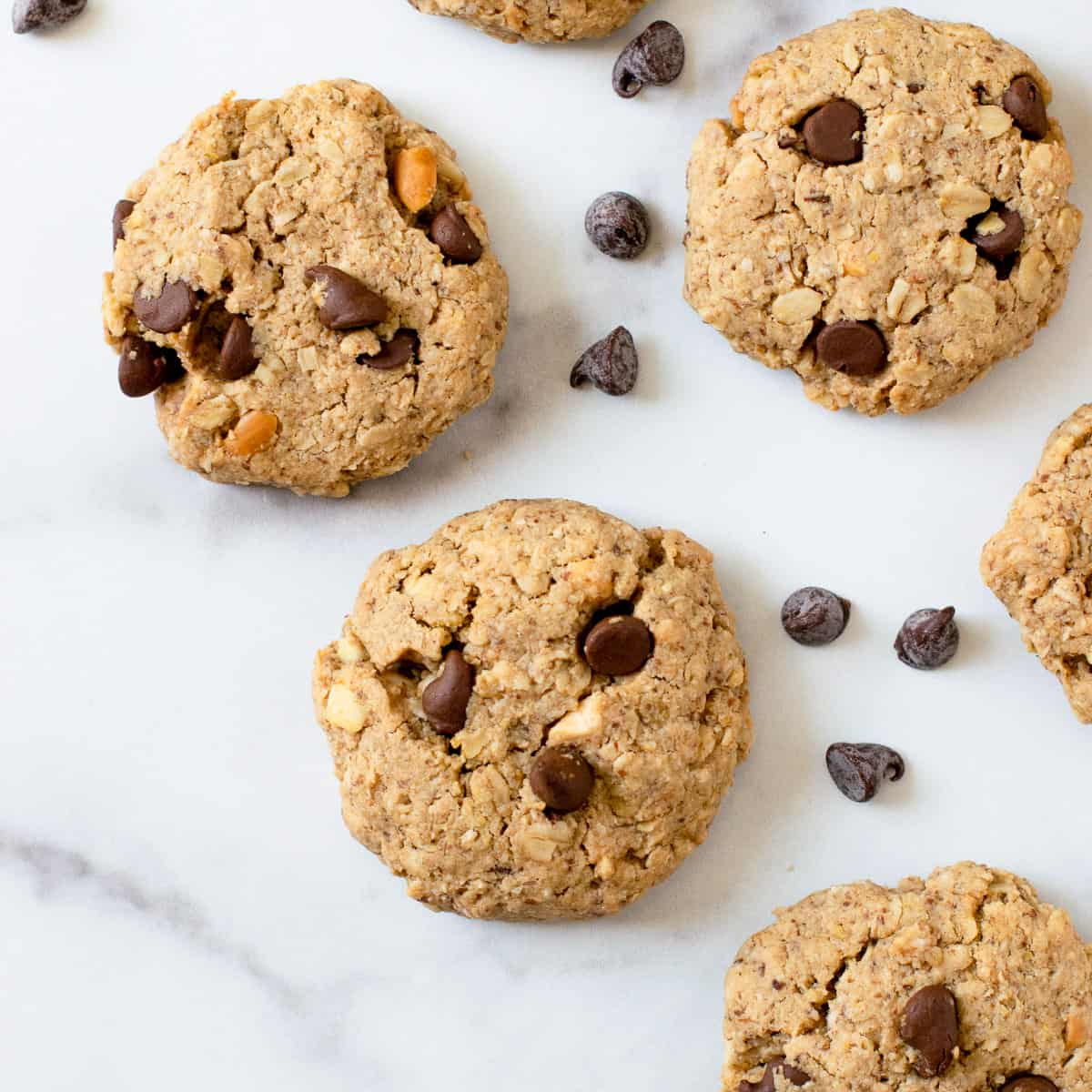 Peanut buttter oatmeal cookies on a white board
