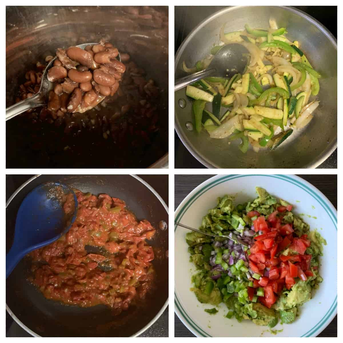 Making of Kidney beans, salsa, fajita and guacamole.