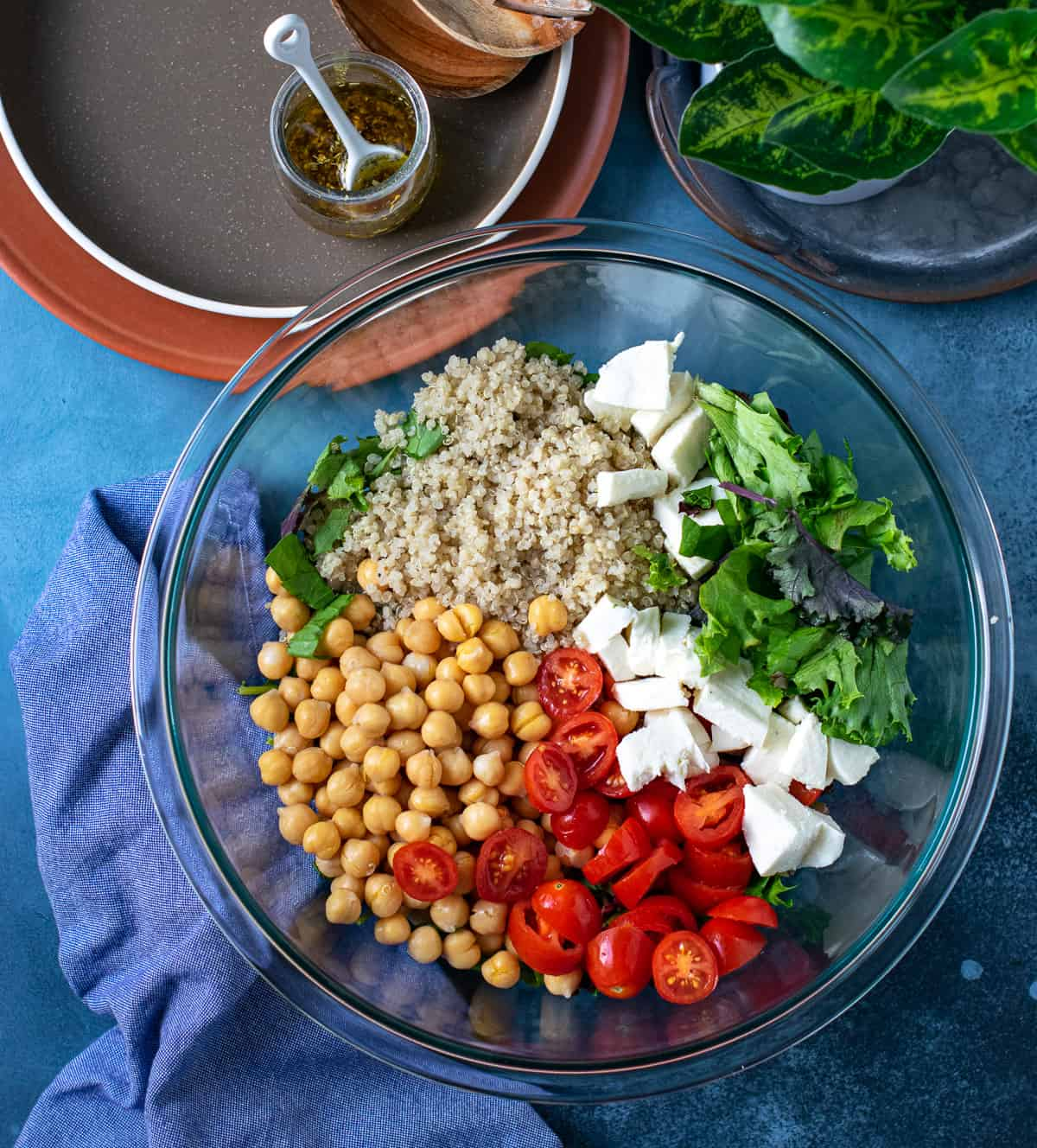 Ingredients to make Caprese salad put in a bowl